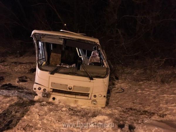 Автобус спассажирами опрокинулся вкювет под Липецком: есть пострадавшие